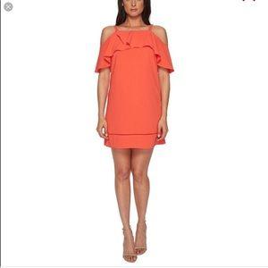 MAGGY LONDON || coral cold shoulder shift dress 2